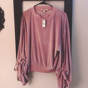 NWT Express pink velvet bell sleeve shirt